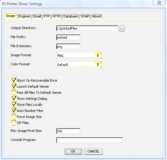 ES Image Printer Driver Settings